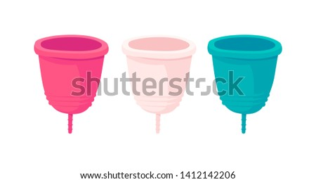 Menstrual cup - feminine hygiene product, device for collecting blood during menstruation and period is used inside the vagina of woman, female.