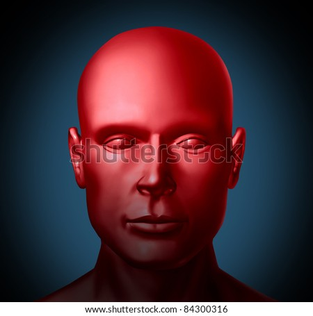 Mental health and Psychiatric disorders medical health symbol represented by a red human head showing an illness of the mind that needs psychological help from a doctor or neurology specialist.