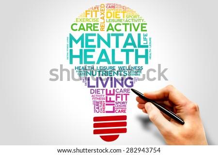 Mental health bulb word cloud, health concept