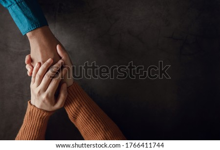 Mental Health Concept. Couple making Comfortable Hand Touch for Encouraging Together. Love and Care. Top View Сток-фото ©