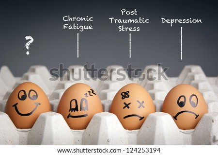 Mental health concept in playful style with egg characters - stock photo