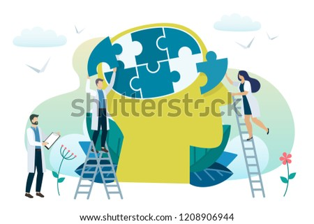 Mental health concept. Solving mental problems. Psychotherapy and help.