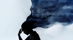 Mental Health Disorder Concept. Exhausted Depressed Female touching Forehead. Stressed Woman Silhouette photo combined with Watercolor. Depression Psychology inside her Head