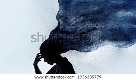 Mental Health Disorder Concept. Exhausted Depressed Female touching Forehead. Stressed Woman Silhouette photo combined with Watercolor. Depression Psychology inside her Head Stock foto ©