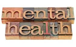 mental health - isolated text in vintage wood letterpress printing blocks