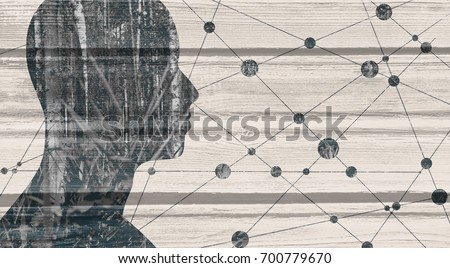 Mental health relative brochure, or book cover design template. Scientific medical designs. Elegant silhouette of human face mixed with forest image. Wood texture. Double exposure
