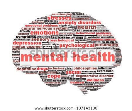 Mental health symbol conceptual design isolated on white background. Psychological trauma symbol design - stock photo