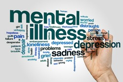 Mental illness word cloud concept on grey background