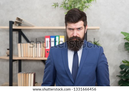 Mental process of choosing from set of alternatives. Hard decision. Business decision. Man bearded businessman thoughtful face solving problem making decision. Decision making is part of management.