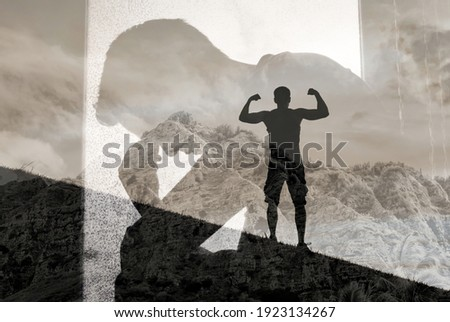 Mental strength, and overcoming life problems. Mental health and strength concept.  ストックフォト ©