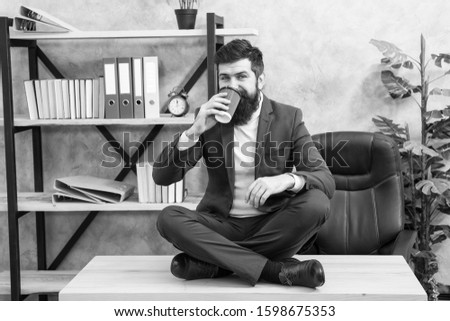 Mental wellbeing and relax. Man bearded manager formal suit sit lotus pose relaxing. Prevent professional burnout. Way to relax. Meditation yoga. Self care. Psychological help. Relaxation techniques.