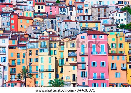 Menton houses in pastel colors, Cote d' Azur, France