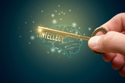 Mentor with key unlock hidden potential of intellect concept. Creative innovative thinking is key to success.