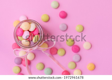 Mentos candies on pink background, wallpaper, Chewy candy sweet Stock photo ©