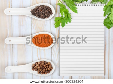 Menu background. Cook book toned image. Vintage image of recipe background. Recipe notepad with diversity of spices and herb.