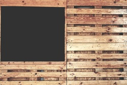 Menu Blackboard Hanging in Pub or Bar Interior On Grunge Wall. Mock up. Empty Chalkboard Menu Sign Mockup Isolated On Wood Wall Background.
