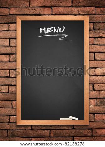 Menu blackboard on old wall Brick mortar background