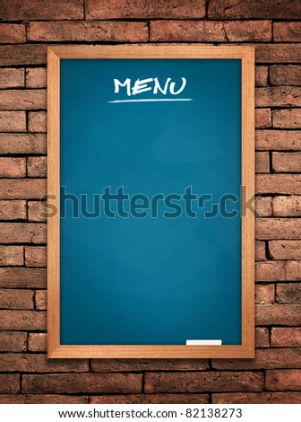 Menu blue board on old wall Brick mortar background