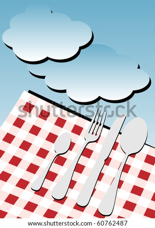 Menu Card Background - Gingham Table Cloth and Cutlery under Blue Sky