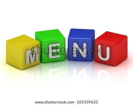 Menu cubes 3d render illustration on a white background