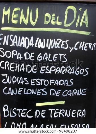 Menu restaurant detail in Paseo de Gracia Avenue, Barcelona, Spain