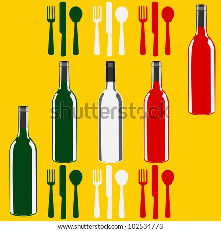 Menu template illustration with a wine bottles in the colours of the flag of Italy