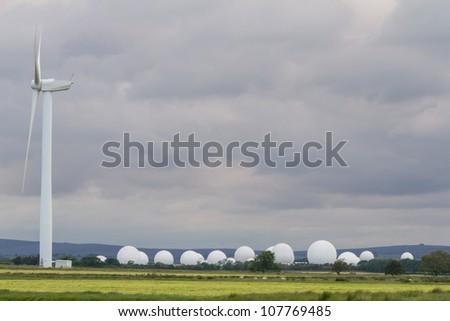 Menwith Hill listening station from Knab's Ridge Wind Farm, near Harrogate