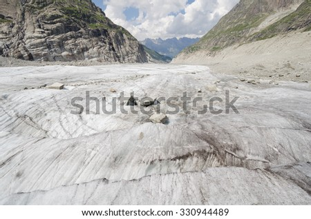 Mer-de-glace glacier and mountains landscape in the french Alps #330944489