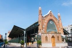 Mercado de Colon (Columbus market), Valencia, Spain. July 2019. Beautiful public market located in the city center of Valencia, Spain. One of the main works of the Valencian Art Nouveau architecture