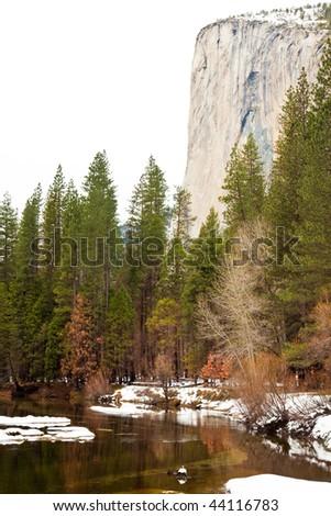 Merced River and El Capitan in Yosemite National Park, California.