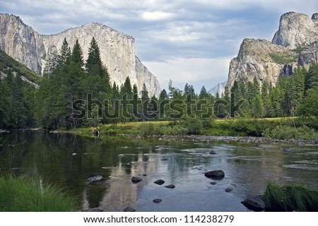 Merced River Yosemite National Park, California, U.S.A. Beautiful Yosemite Valley Scenery with Merced River. Summer in Yosemite Valley. Nature Photography Collection.