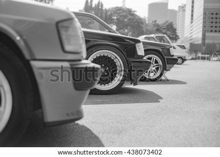 Mercedes Benz 190E rally to hua hin on May 29, 2016 in Prachuap Khiri Khan , Thailand. black and white.  #438073402