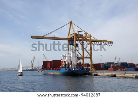 Merchant ship tied up in Alicante