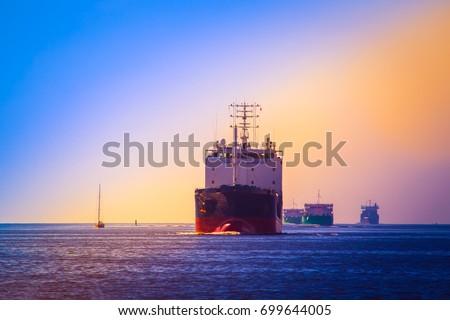 Merchant ships. Fairway of sea ships. #699644005