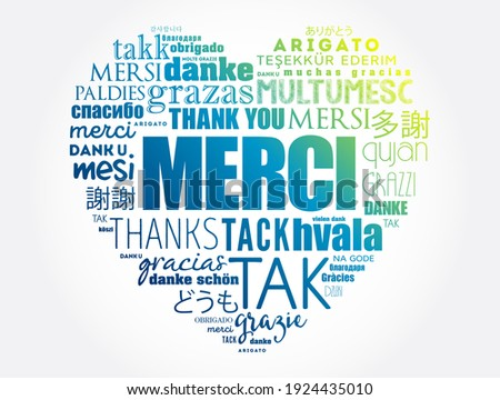 Merci (Thank You in French) love heart word cloud in different languages Foto stock ©