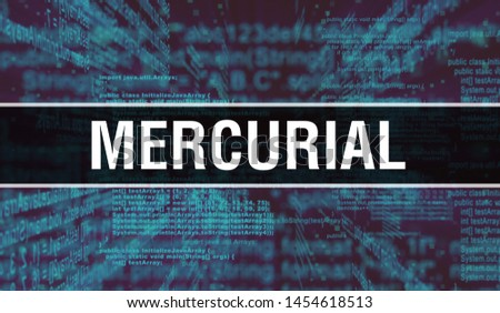Mercurial with Digital java code text. Mercurial and Computer software coding vector concept. Programming coding script java, digital program code with Mercurial on screen illustration