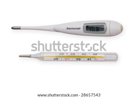 Mercury and digital thermometers Isolated on white - stock photo