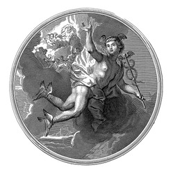 Mercury, anonymous, after Jean-Baptiste Corneille, Ceiling piece with the god Mercury flying with the caduceus in his hand. In the background the gods of Olympus on the clouds, vintage engraving.