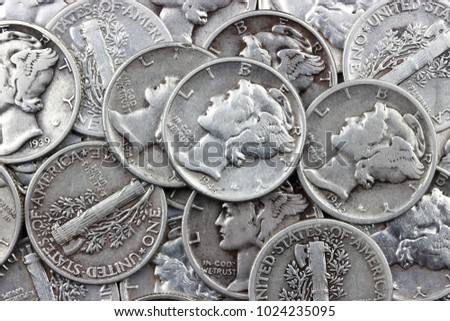 Mercury Dime Silver Coin, Winged Liberty USA Dime background