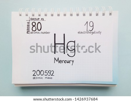 Mercury - element of the periodic table. Symbol for the chemical element mercury with atomic data (atomic mass, atomic number and electronegativity) written on sheet of paper.