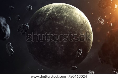 Mercury. Planets of solar system visualization. Elements of this image furnished by NASA
