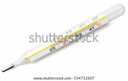 mercury thermometer, isolated on white background