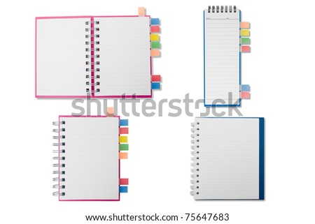 Merge notebook on white background