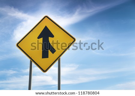 Merge road sign as symbol of cooperation
