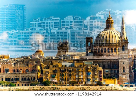 Merged photos of Malta: old and new buildings.