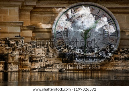 Merged photos of Valletta and stone clock face.