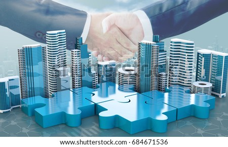 merger and acquisition business concepts, join company on puzzle pieces and handshake, 3d render