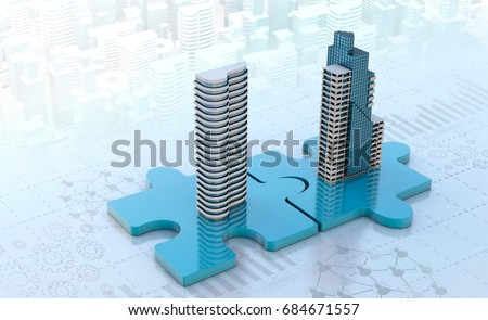 merger and acquisition business concepts, join company on puzzle pieces, 3d render