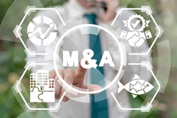 Merger and Acquisition Company Business Finance Concept. M&A. Corporation Teamwork Mergers & Acquisitions.