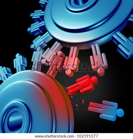Merger job cuts due to downsizing and unemployment for better business efficiency with teamwork firings to reduce duplicate work force with two gears or cogs in the shape of people icons on white. - stock photo